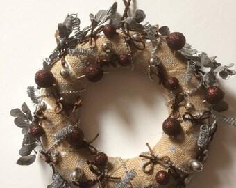 Christmas - silver wreath, burlap