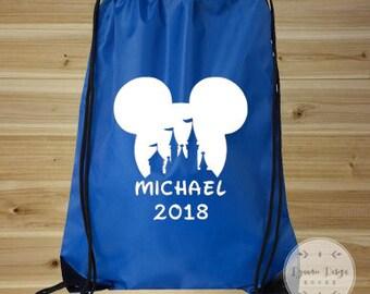 Mickey Mouse Bag, Drawstring Bag, Mickey Mouse Backpack, Disney Bag, Disney Vacation Bag, Drawstring Backpack, Disney Park Bag, Disney Tote