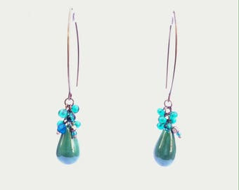 Large dangle earrings, emerald green