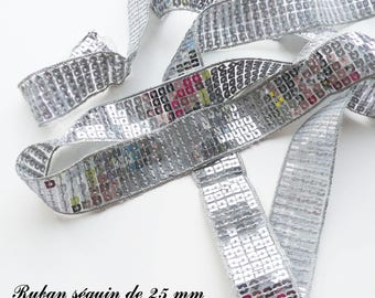Ribbon / lace sequin glitter 25 mm, sold by 50 cm: gray