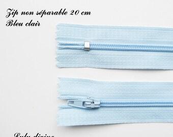 Simple not separable 20 cm zip 1: light blue