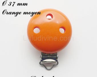 Clip / wooden pacifier Clip, Ø 37 mm from loop: medium Orange