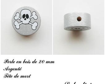 Wooden bead of 20 mm, flat, skull bead: Silver