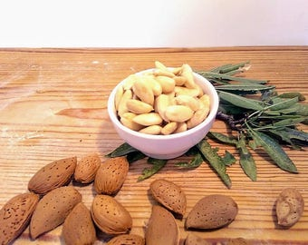 whole almonds: 100% organic almonds made in italy picked by hand from our almond's trees and then let them dry and peeled