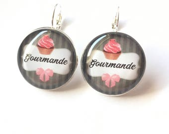 "Original & unique ""Gourmet"" personalized, derision, blue, pink, polka dot earrings, bow, humor"