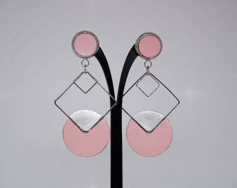 LIGHT POWDER PINK LEATHER EARRINGS, SILVER METAL SQUARES WITH SILVER
