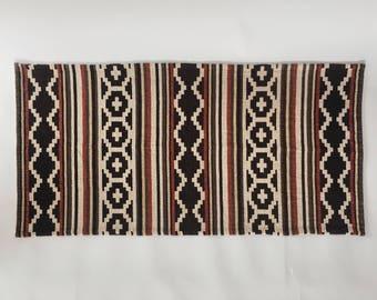 Vintage Cotton Scatter Rug Kilim Aztec Style