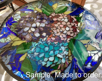 Patio Side Table - Hydrangeas