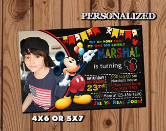 Mickey Mouse Invitation,Mickey Mouse Birthday Invitation,Mickey Mouse,Photo Invitation,Birthday Invitation,Mickey Mouse Birthday Party