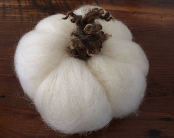 Needle felted white pumpkin
