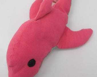 Plush pink dolphin and madras birth gift