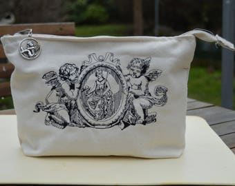 pencil bag embroidered with angels, cherubs