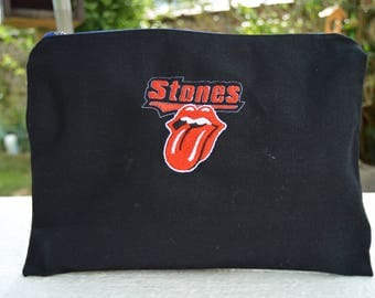 embroidered pouch rolling stones 28/20 cm high