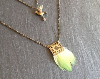 Double necklace bird and feathers