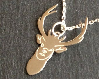 reindeer head silver pendant necklace