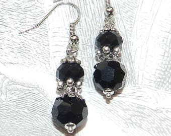 Earrings retro black and silver