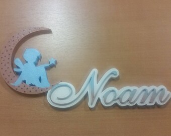 door plates Pixie half moon - first name choice