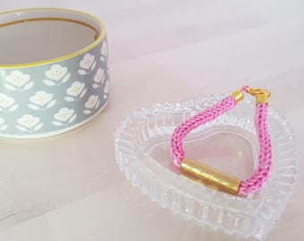 Collection wool and brass - pink - handmade