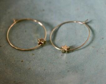 gold star hoop earrings