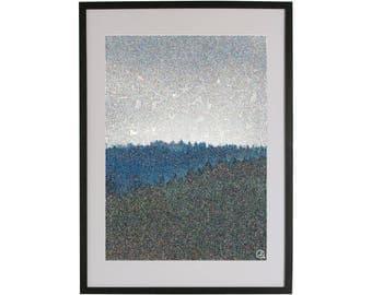 Forest top art print. High quality Scandinavian contemporary art piece