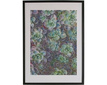 Green flowers art print. High quality Scandinavian contemporary art piece