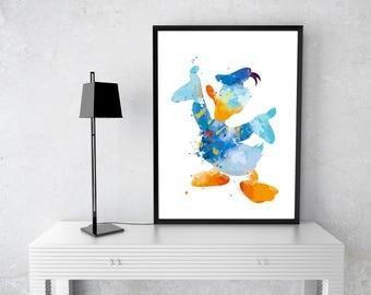 Donald duck watercolor print / donald duck wall print / donald kids room / nursery decor / printable art /