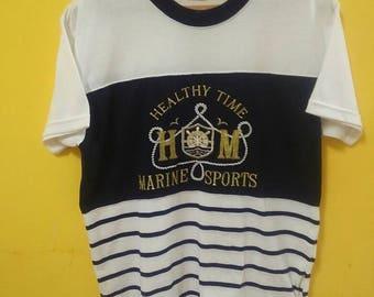 Mega Sale!!!Vintage Marine Sports T-Shirt Stripe Embroidery Big Logo