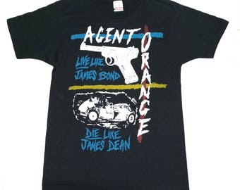 Rare!!Vintage Tour Tshirt Agent Orange Unsafe At Any Speed Punk Shirt 80's /Live Like James Bond / Die Like JameS Bond / Size M