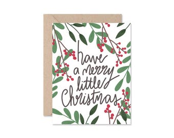 Merry Christmas Card, Hand Lettering Winter Card, Floral Holiday Illustration