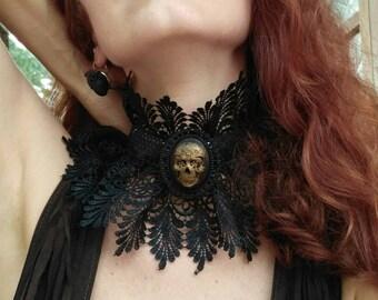 Ruff Elizabethan Collar Black Lace Gothic Victorian Choker, Queen Ruffle Collar Choker, Gothic Victorian Necklace, Vampire Necklace Choker