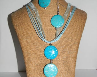 Organza necklace + earrings turquoise