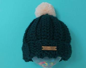 Kids | DARK GREEN | Crocheted Unisex Bobble Hat | Cream Pom Pom