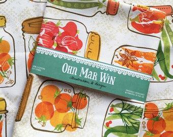 Pickles in Mason Jars Tea Towel - Canning - Dish cloth - Kitchen Gift - Farm Fresh - Vintage Inspired - Home garden -Ohn Mar Win