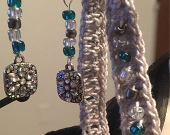 Silver and Aqua Earrings and Bracelet