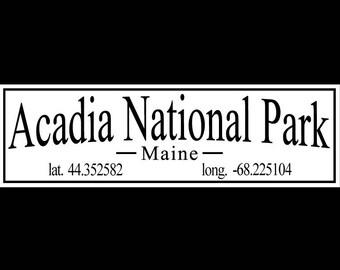 Acadia National Park, Maine with Latitude and Longitude