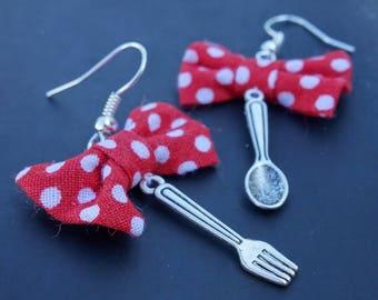 Earrings table! Polka Dots bow