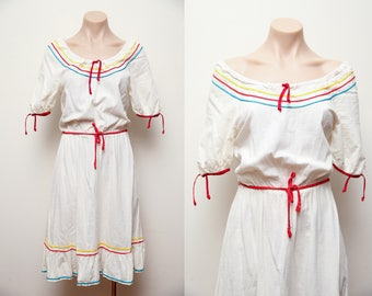 Vintage 1960s western cotton day dress ric rac style