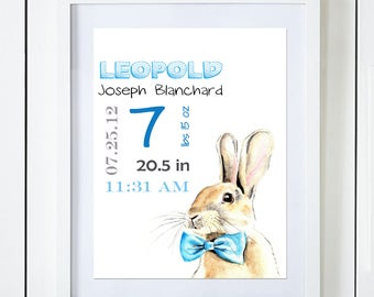 Blue Bunny Birth Announcement Baby Stats Watercolor Art Print