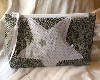 TOILET bag fabric coated faux leather python gray and applied star