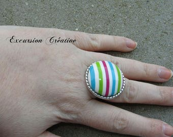 """Ring """"it's spring"""" striped multicolor polymer clay entirely by hand"""