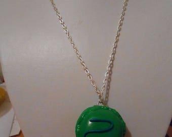"""Macaron"" green polymer clay pendant necklace"