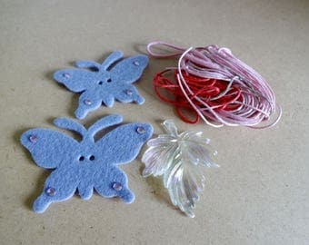 Set butterflies felt - pendant - colored cords - activity - children embellishments scrapbooking