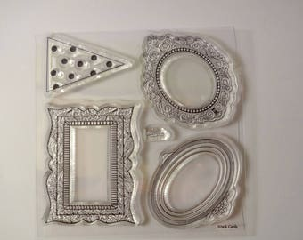 Clear stamps frames and triangle (4 pieces) - embellishments - scrapbooking