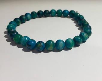 Natural Bohemian Blue and Green Jasper Stone Stretchable Handmade Bead Bracelet