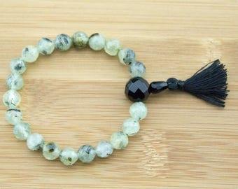 Faceted Prehnite Wrist Mala Bracelet with Black Onyx | 8mm | Yoga Jewelry | Meditation Bracelet | Buddhist Mala Bracelet | Free Shipping
