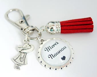 Key-thanks, nanny bag charm - Red