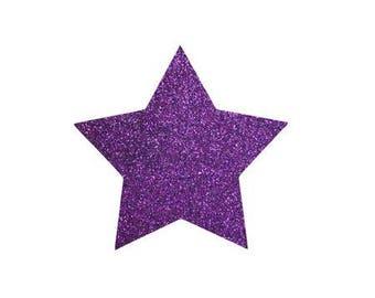5 X 4.8 cm purple glittery star fusible pattern