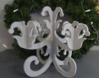 Wooden candle holder painted in matte gray