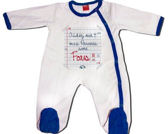 "Pajamas baby blue humor ""help me my parents are crazy!"""