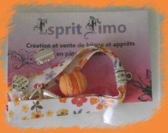 "Creation ""fabric bracelet and orange macaroon"" Kit"